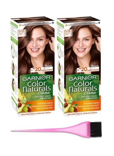 Garnier Garnier Color Naturals Saç Boyası Doğal Koyu Kumral Kadın 5.15 X 2 + Boya Fırçası Renksiz